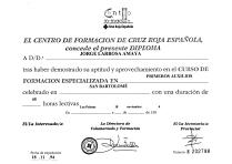 Diploma Cruz Roja Primeros Auxilios