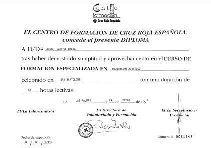 Diploma Cruz Roja Socorrismo Acuático